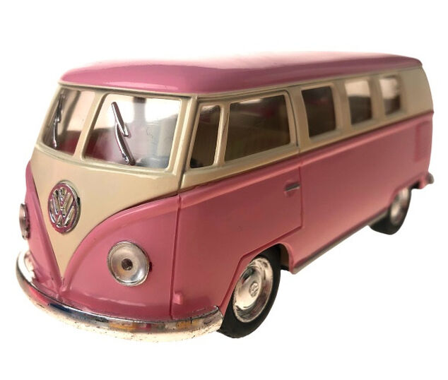 Toys Amsterdam bus Volkswagen T1 1962 pull-back 1:32 staal roze