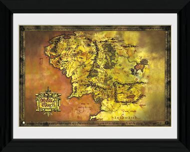 poster in lijst Lord of the Rings Middle Earth 30 x 40 cm