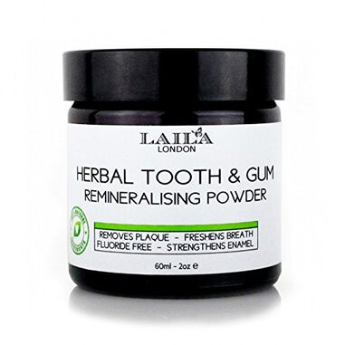 Laila London Organic Herbal Tooth & Gum Remineralising Powder - Fluoride vrij 60ml.