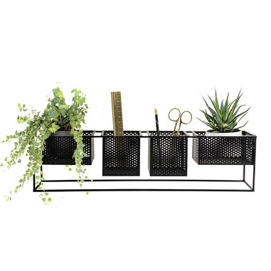 Dresz Wall Rack with 4 Portable Containers Black