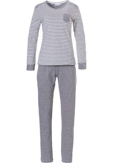 Katoenen, gestreepte, dames pyjama met lange mouwen 'beauty in dots & stripes'
