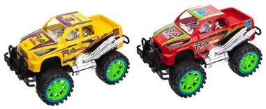 PMS monstertrucks Inertia Power 20 cm geel/rood 2-delig