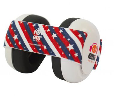 Em's for kids baby gehoorbeschermers Wit - Stars N Stripes bandje