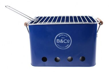 draagbare barbecue staal 32 x 20 x 20 cm blauw