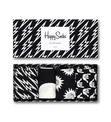 Happy Socks Black and White 4-pack Giftbox