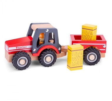 New Classic Toys tractor Little Driver 24 cm hout rood 4-delig