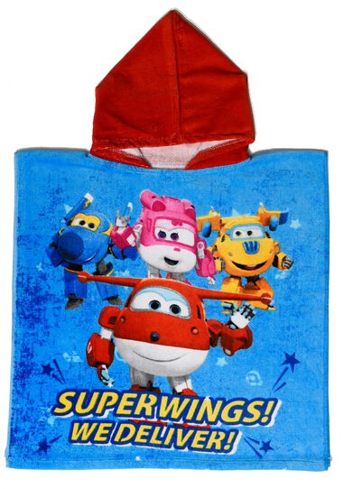 Super Wings badponcho blauw/rood junior 50 x 100 cm