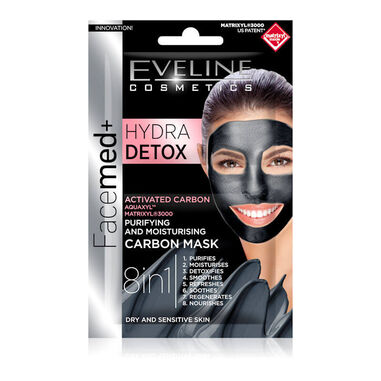 Eveline Cosmetics Facemed+ Hydra Detox Purifying & Moisturising Carbon Mask 2x5ml.