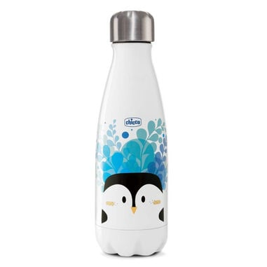 Chicco drinkfles Pinguïn junior 350 ml RVS wit/zwart/blauw
