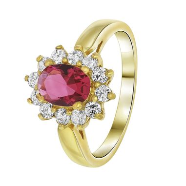 Goldplated ring fuchsia met zirkonia