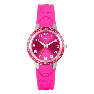 California kinder horloge fuchia