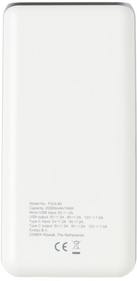 XD Collection powerbank 20000 mAh 16,2 x 8 cm ABS wit