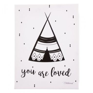 Childhome canvas You Are Loved 40 x 30 cm wit/zwart