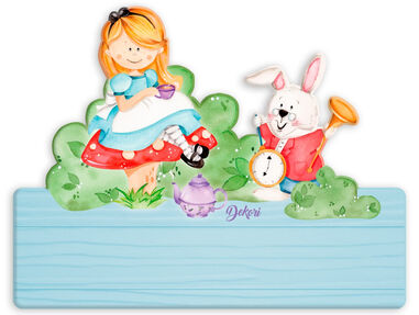 Dekori naambord Alice in Wonderland junior 25 x 16 cm hout 2-delig