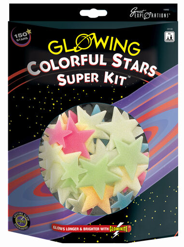 Glow in the Dark sterren: Colorful Stars Super Kit