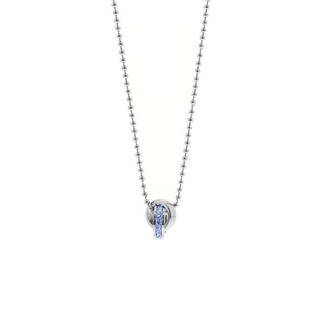 Stalen kinderketting light sapphire kristal