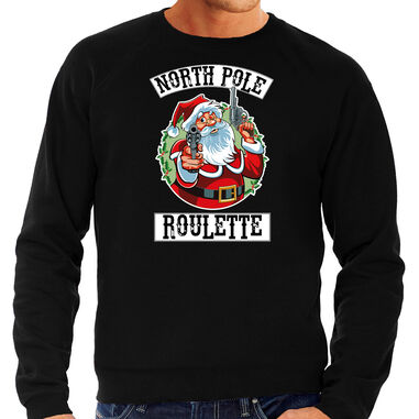 Grote maten foute Kerstsweater / Kerst trui Northpole roulette zwart voor heren - Kerstkleding / Christmas outfit