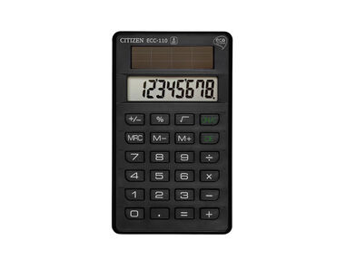 Calculator pocket Citizen Eco Complete ECC-110, zwart