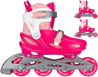 Nijdam 3-in-1 skates Floral Switch polyester roze/wit mt 33-36