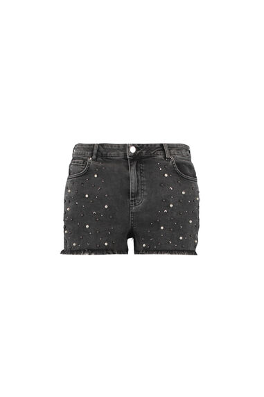 Denim short met parels en studs