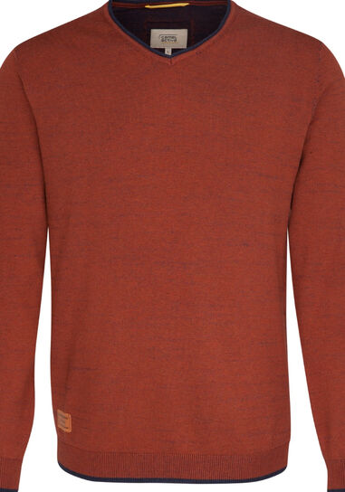 Camel Active Heren trui roest v-neck regular fit rood