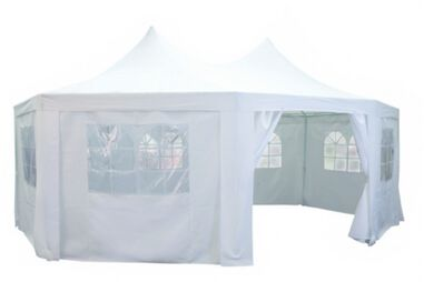 partytent achtkant 6 x 4.4 x 3.5 meter wit