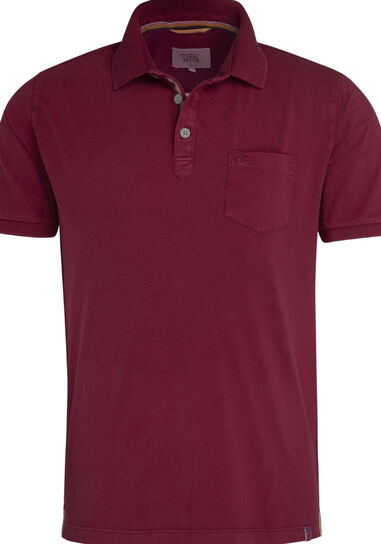 Camel Active Heren poloshirt donker pique borstzak regular fit rood