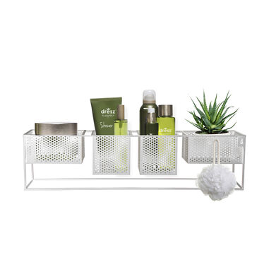 Dresz Wall Rack with 4 Portable Containers White