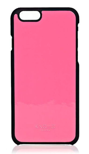 Knomo iPhone 6/6S Leather Snap On Case Fluro Pink