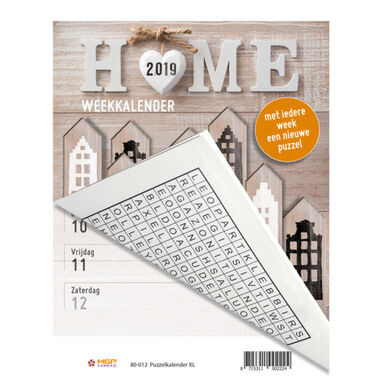 puzzelkalender XL 2019 Home 21X27 Wire-O-Verbinding incl ophangbeugel