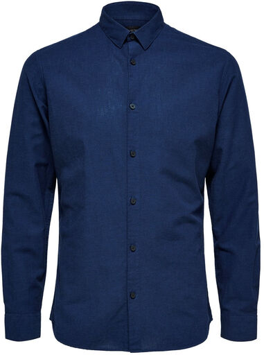 Selected Homme Heren overhemd donker linnen kent slim fit