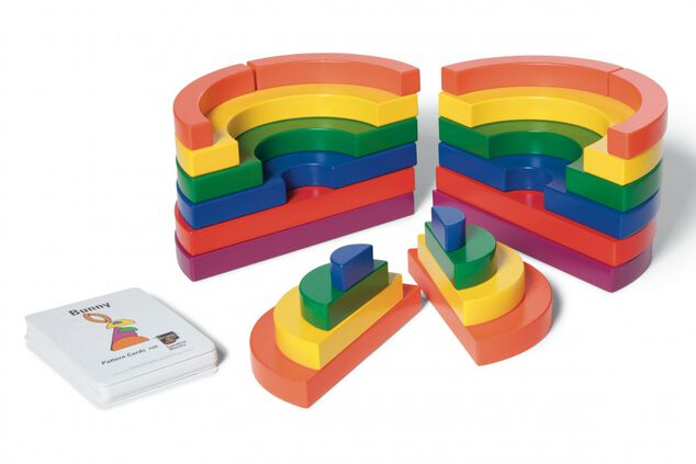BS Toys blokkenset Circle Set hout multicolor 22-delig