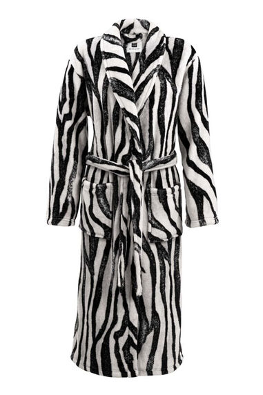 Zo Home Flanel Fleece Badjas Zebra - white