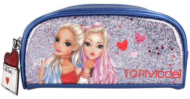 Top Model etui Love Letters 20 x 10 cm polyester blauw