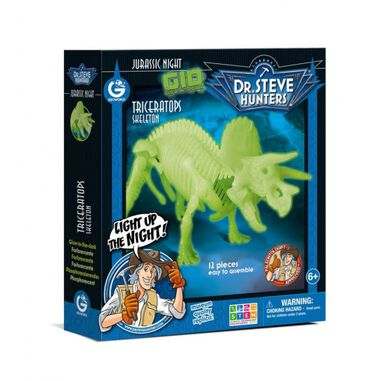 Geoworld bouwpakket glow in the dark Triceratops 21 cm