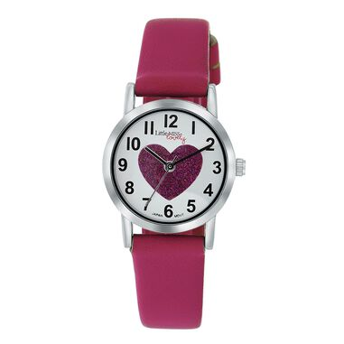 Little Miss Lovely horloge met fuchsia leren band