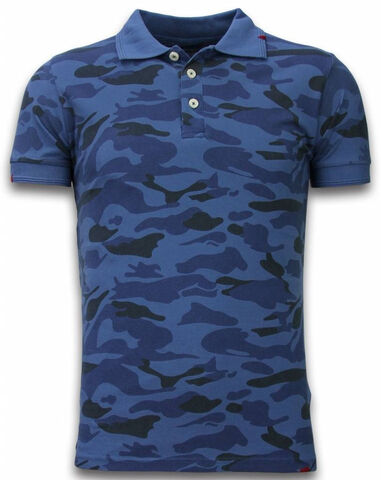 Bread & Buttons Camo polo shirt washed camouflage blauw