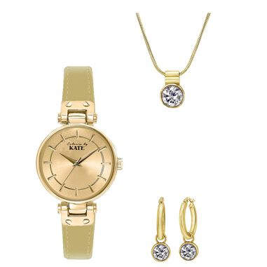 Stalen set goldplated met zirkonia