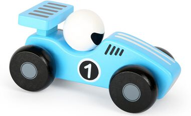 Small Foot raceauto hout blauw/wit 13 x 6 cm