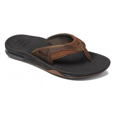 Reef Slipper men leather fanning bronze bruin