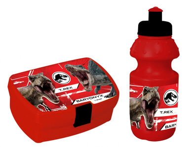 Jurassic World lunchset 350 ml jongens rood/zwart 2-delig