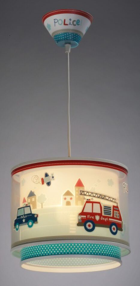 hanglamp Police glow in the dark 26,5 cm wit/blauw/rood