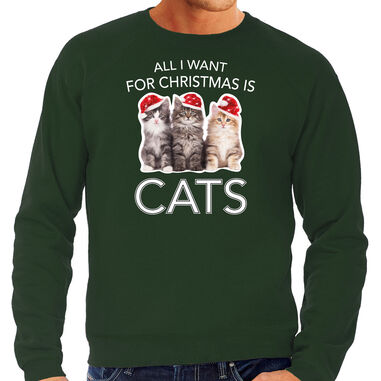 Kitten Kerstsweater / Kerst trui All I want for Christmas is cats groen voor heren - Kerstkleding / Christmas outfit