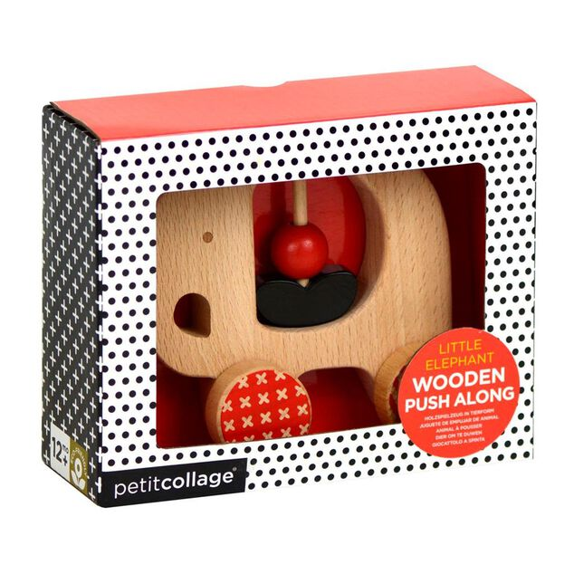 Petit Collage houten duwdier Olifant blank/rood 11,5 cm
