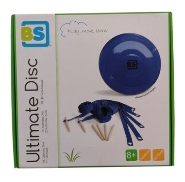 BS Toys frisbeeset Ultimate Disk hout blauw 8-delig