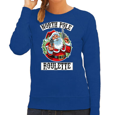 Foute Kerstsweater / kersttrui Northpole roulette blauw voor dames - Kerstkleding / Christmas outfit