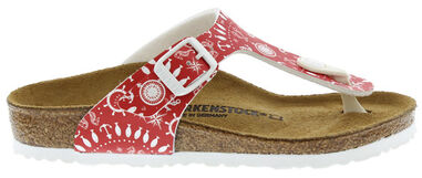 Birkenstock Gizeh nautical print narrow rood