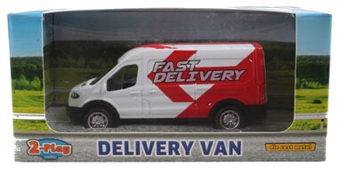 2-Play schaalmodel Ford Transit bestelbus pull-back wit
