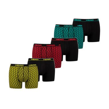 HEAD 6-Pack Honingraat Print Boxerhort Red-Black