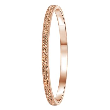 Stalen armband roseplated light peach kristal